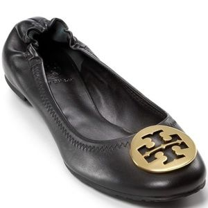 Tory Burch Reva Black Leather Gold Emblem Flats 8
